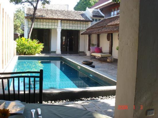 Bann Tazala: View of pool from Restaurant