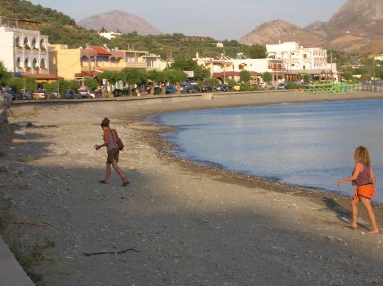 Morpheas Apartments: village & beach in the evening.