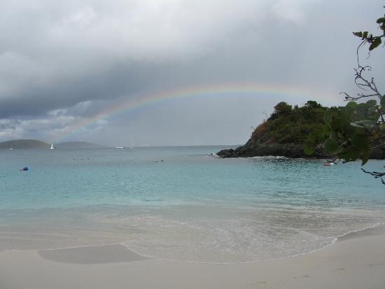 Virgin Islands National Park, St. John: Rainbow at Trunk Bay