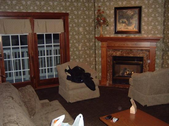 Carlisle Inn Sugarcreek: Two cozy chairs by the fireplace (glassed-in, by the way)