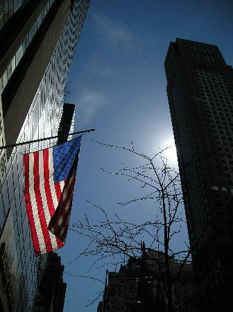 New York by, NY: American Flag Flying Proud