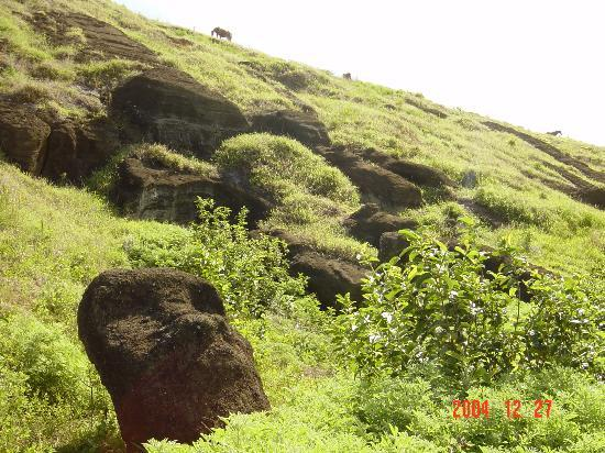 Rano Raraku : Heading up the path on the inner wall of the volcano.