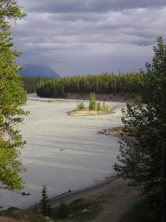 Jasper House Bungalows: View from our chalet over the Athabasca River