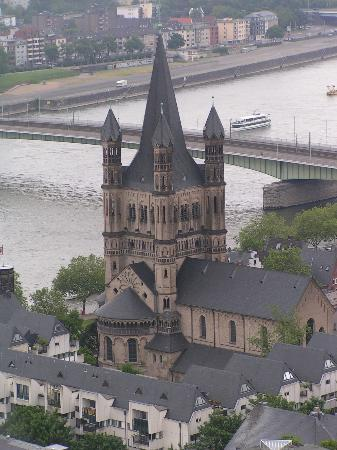 Cologne-katedralen: View of the city from the top of the tower