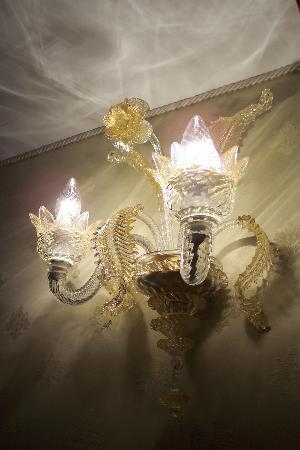 Locanda al Leon: One of the glass light fixtures in each room and in all the hallways