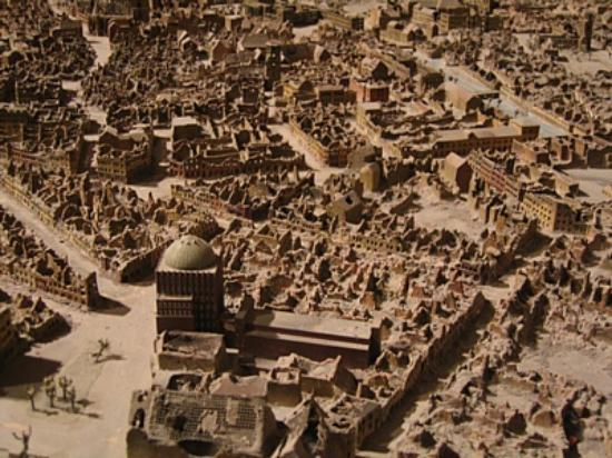 Hannover City Hall (Rathaus): Detail of the model that shows Hannover after the WWII bombings