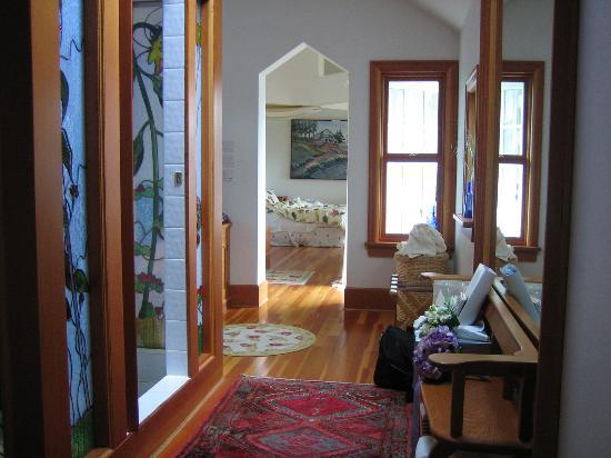 Sooke Harbour House: #5 Huge room. from bathroom hall looking ahead to living/bedroom. Left. Huge stained glass...