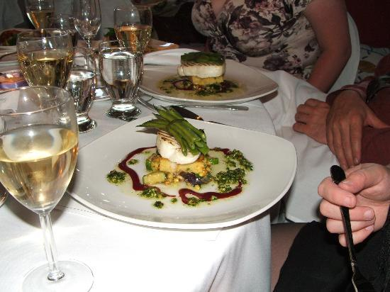 Sooke Harbour House: Dinner. Halibut. Herb cheese pesto, roast veggies and topped with a green bean bundle