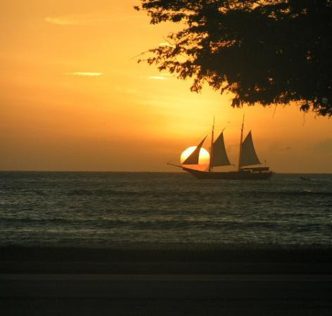 Malmok Beach, Aruba: Sunset from the Deck of Our Villa
