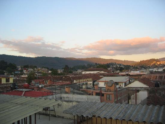 Hotel Real de Valle: view over roof tops and hills from hotel solarium (roof)