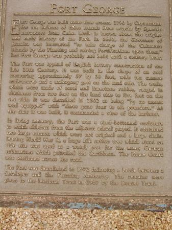 Fort George: Story of fort (little hard to read)