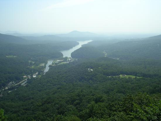 River House at Chimney Rock: looking down on river; inn is on left side of river