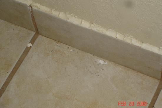 Super 8 Lafayette LA: dirt on bathroom floor_1