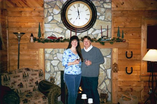 Valle Crucis Bed & Breakfast : Newlyweds in front of the fireplace at VCB&B