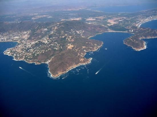 Acapulco, Mexico: the bay from plane