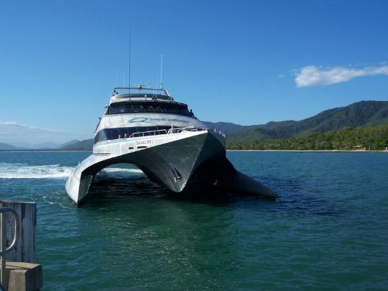 Great Barrier Reef, ออสเตรเลีย: Wave Dancer approaches the jetty