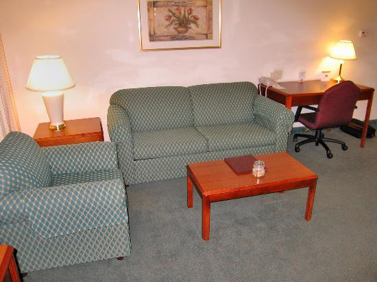 Residence Inn Boston Franklin: Room 138 Sitting area with sofa bed