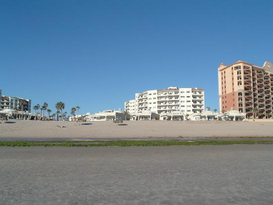 View of Las Palmas from the beach at sunset