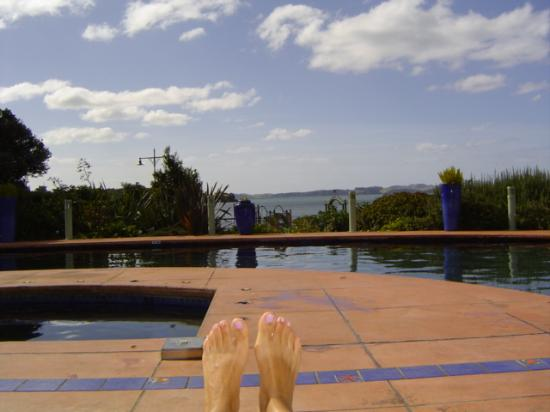 Paihia Beach Resort & Spa: View over the pool onto the beach