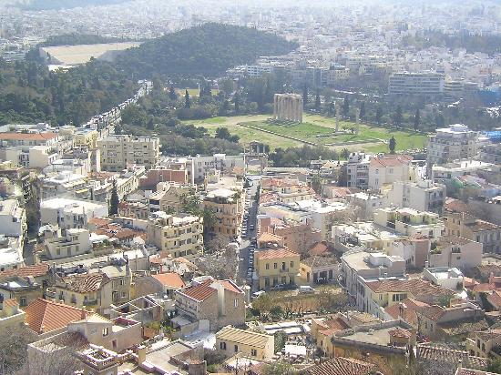 ‪‪AVA Hotel Athens‬: Plaka and Lyssikratous Street (the big street in the middle) viewed from the Acropolis‬