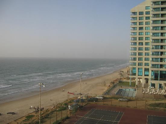 Herzliya, Israel: View of the beach from hotel room.