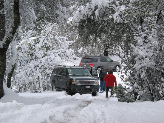 Amador Harvest Inn: Snow in Amador county, car gets stuck.