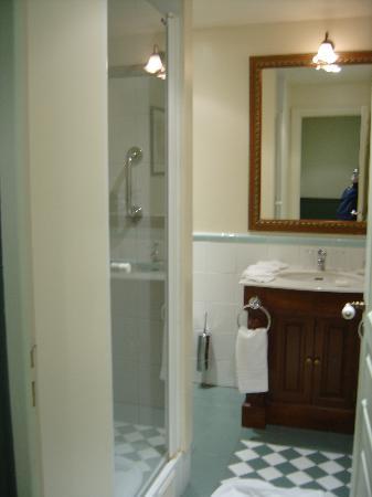 Marriott's Village d'Ile-de-France : upstairs bathroom room glass shower, toilette around corner from sink
