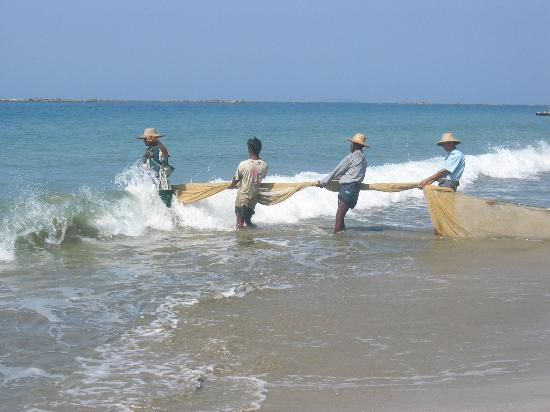 Ngwe Saung, พม่า: Fishermen at work