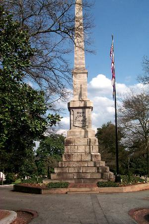 Oakland Cemetery: Three story high Confederate Obelisk erected in 1874.