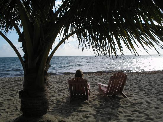 Cozy Corner: Sitting on the hotel's beach while waiting on breakfast!