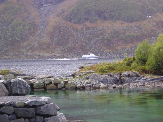 Western Norway, Norway: The express boat Bergen-Selje in Skatestraumen by Hornelen in NOrdfjord