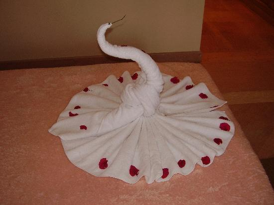 "‪إيبروتيل بالاس: ""Swan"" made from towels‬"