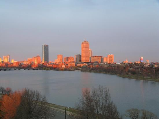 Hyatt Regency Cambridge, Overlooking Boston: View from our balcony at sunset!!
