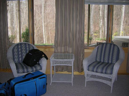 Asheville Cabins of Willow Winds: Comfortable Seating in Master Bedroom