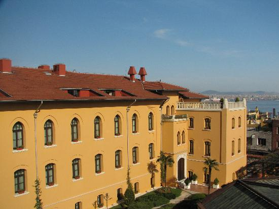 Four Seasons Hotel Istanbul at Sultanahmet: View over central courtyard. Deluxe Rooms and patios are cut into roofline.