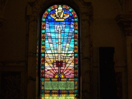 Belfast, UK: City Hall interior - Stained Glass.