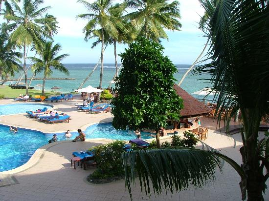 The Warwick Fiji: view from our room looking over pool bar
