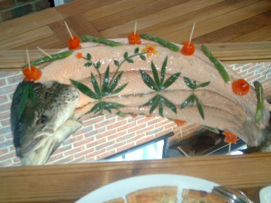 The New Inn: salmon ready for buffet