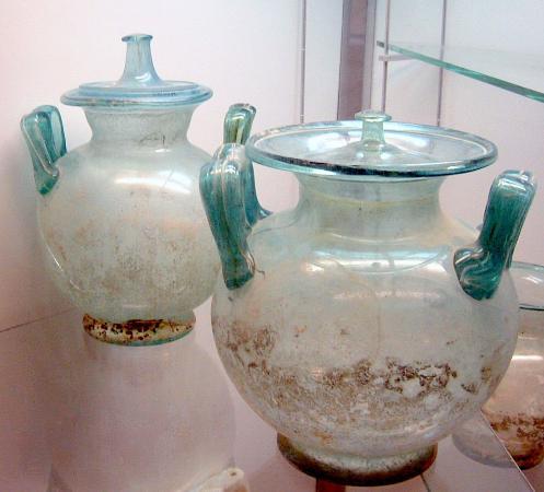 Tripoli's Jamahiriya Museum: Glass funeral urns from 200 BC