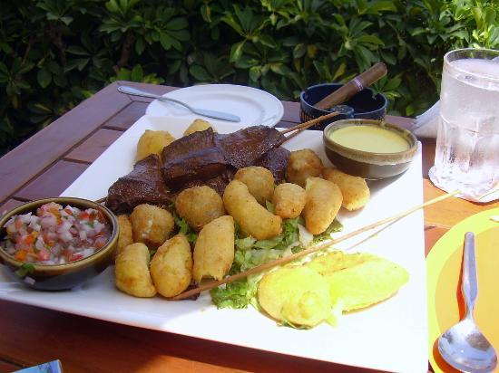 Thunderbird Hotels Carrera: anticucho de corazón (peruvian typical dish)