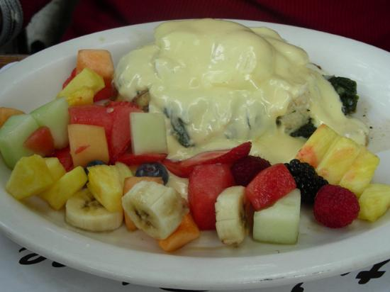 Katy's Place: Dungeness Crab Benedict with Fruit