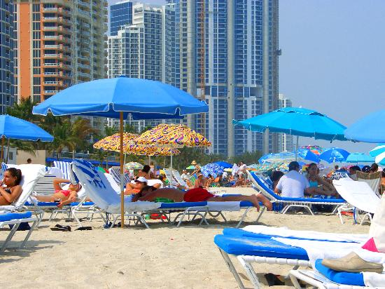 Doubletree Resort & Spa by Hilton Ocean Point - North Miami Beach : The Ocean Point beach is next to a public beach, but the only hint of this is the umbrellas.