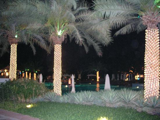 Le Meridien Al Aqah Beach Resort: gardens at night