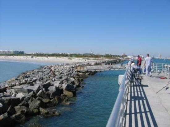Jetty Park Campground: View from the pier looking back at the park
