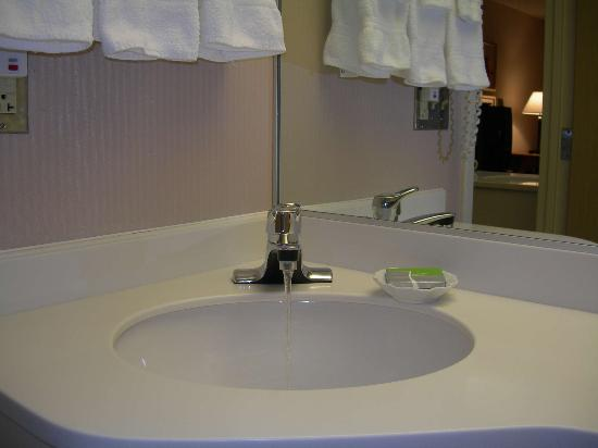 Courtyard by Marriott Newburgh Stewart Airport : Sink, beware soft water, soap leaves a sticky film that won't rinse away.
