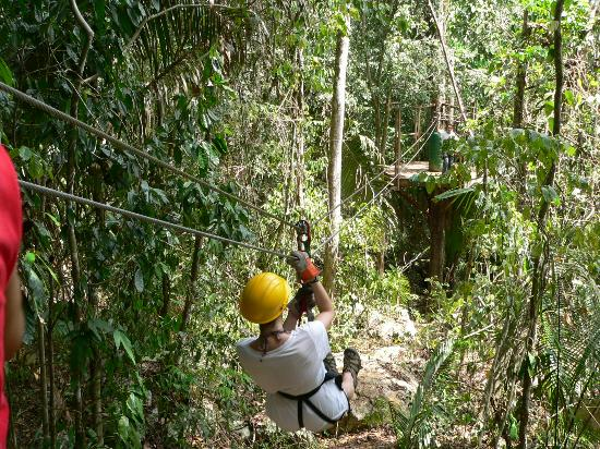 Xanadu Island Resort: aerial zip line in Belize