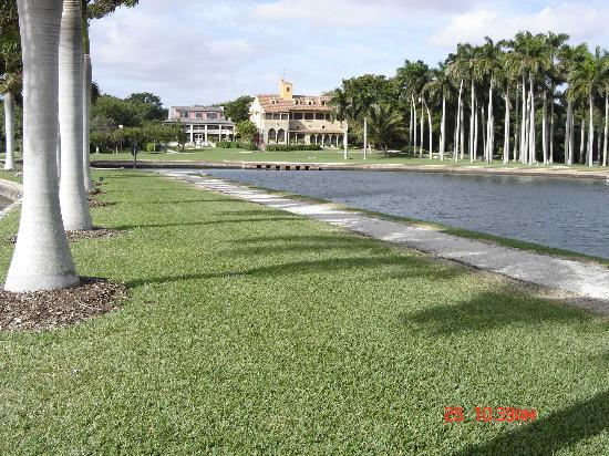 Deering Estate: view from water looking back at the historic houses