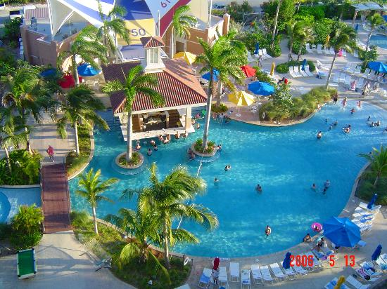 """Marriott's Aruba Surf Club: The """"party"""" pool taken from our 10th floor balcony"""