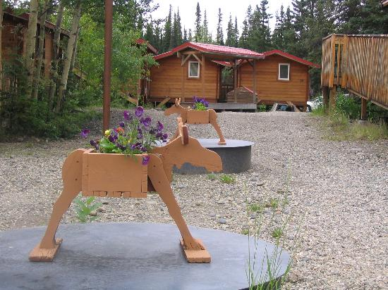 The Cabins at Denali Park Village : Moose planter with flowers