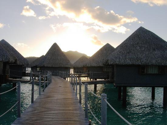 Bora Bora, Polinesia Francesa: Sunset on the way to the OWB at Le Meridien